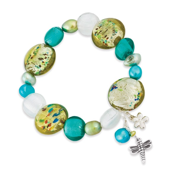 Sterling Silver Freshwater Pearl and Glass Bead Dragonfly Bracelet