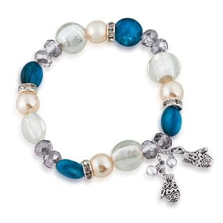 Sterling Silver Freshwater Pearl and Glass Bead Mitten Bracelet