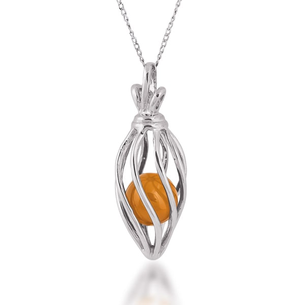Sterling Silver Caged Carnelian Bead Pendant