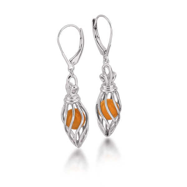 Sterling Silver Caged Carnelian Bead Dangle Earrings
