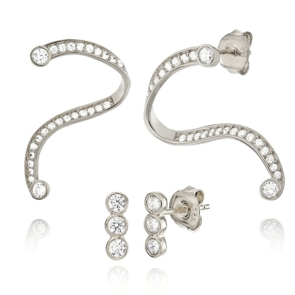 18k Goldplated Sterling Silver Swirl Cubic Zirconia Cuff and Stud Earrings