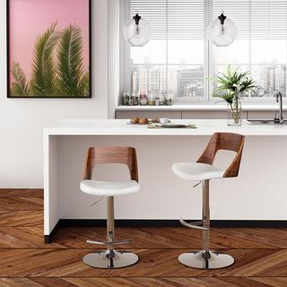 Avenue Greene Baden Swivel Barstool, White Faux Leather/Walnut: White