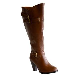 Boots by Pamela Women's Debbie Buckle Detail Block Heel Wide Calf Boots