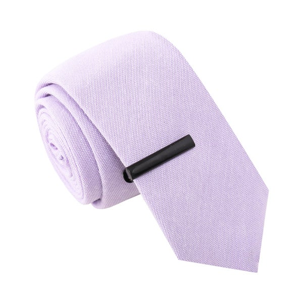 Skinny Tie Madness Men's Banjo Scandal Purple Skinny Tie with Tie Clip