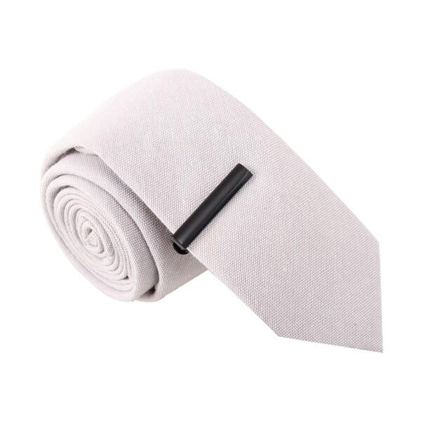 Skinny Tie Madness Men's Dynamite Debra Grey Skinny Tie with Tie Clip