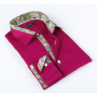 Coogi Luxe Men's Fuchsia Shirt With Floral Print Details