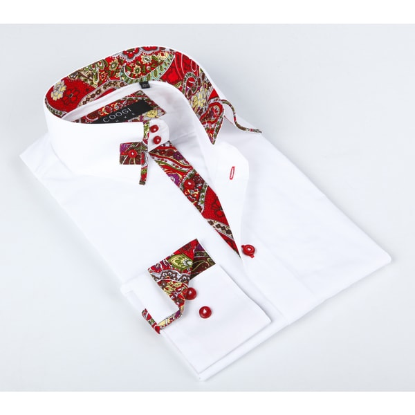 Coogi Luxe Men's White Dress Shirt With a Red Trim in Collar