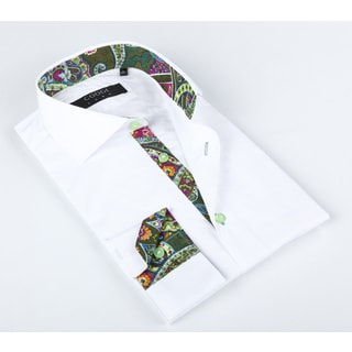 Coogi Luxe Men's White Solid Button-up Dress Shirt With a Multicolored Paisley Trim