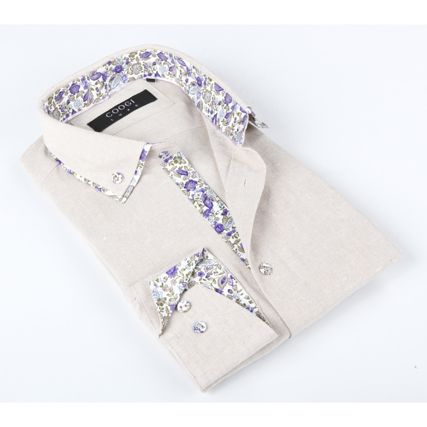 Coogi Luxe Men's Beige Solid Button-up Dress Shirt With Purple Floral Print in Collar