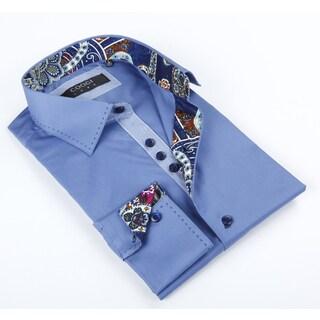 Coogi Luxe Men's Blue Solid Button-up Dress Shirt