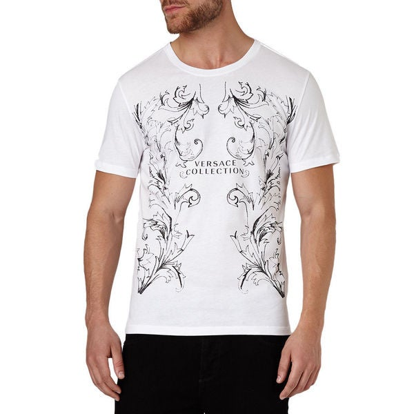 Versace Collection Men's White Crew Neck Logo Short Sleeve T-shirt Large Size (As Is Item)