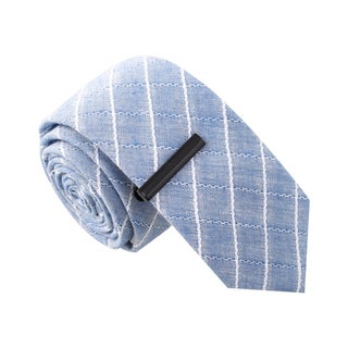 Skinny Tie Madness Men's Before The Antipasta Blue Skinny Tie with Tie Clip