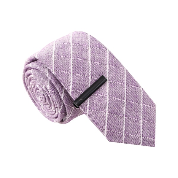 Skinny Tie Madness Men's Vulgar Veronica Purple Skinny Tie with Tie Clip