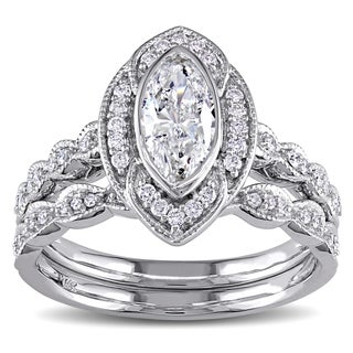 Miadora Signature Collection 14k White Gold 1ct TDW Marquise Diamond Halo Bridal Ring Set (G-H, I1-I2)