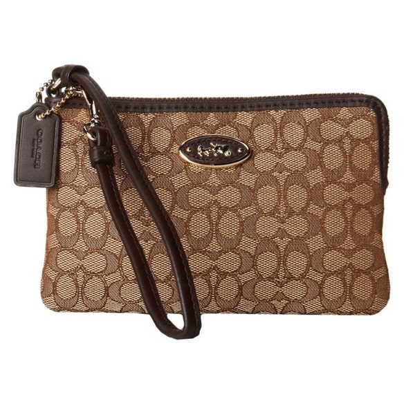 Coach Small Wristlet In Signature Jacquard
