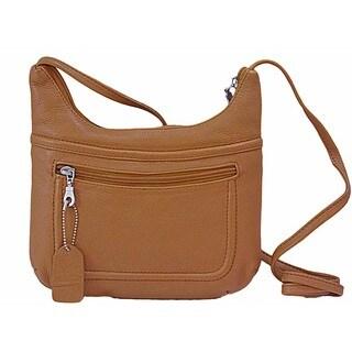 Paul & Taylor Tan Cowhide Leather Crossbody Essentials Handbag