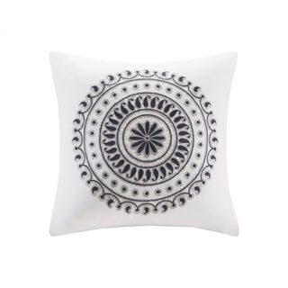 Ink+Ivy Fleur Embroidered Cotton Square Pillow