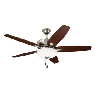 Emerson Ashland 52-inch Brushed Steel Traditional Transitional Ceiling Fan with Reversible Blades