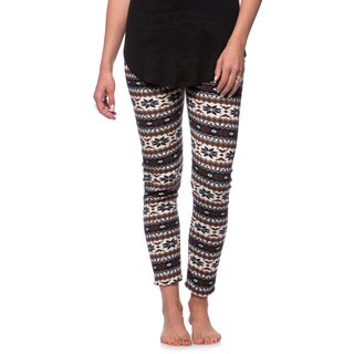 Women's Fleece Lined Navy/ Brown Fair Isle Print Leggings