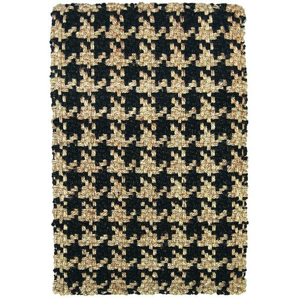 Lad Houndstooth Black Rug (2' x 3')