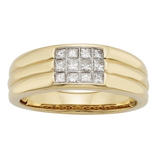 Sofia 14k Gold 1/2ct TDW Certified Princess Cut Diamond Gents Ring (H-I, I1-I2)