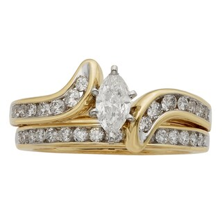 Sofia 14k Gold 1ct TDW Certified Marquise Diamond Bridal Set (H-I, I1-I2)