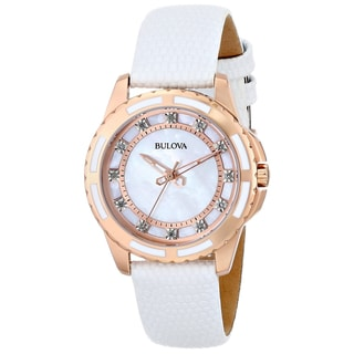 Bulova Women's 98P119 Stainless Steel Diamond-Accented Automatic Watch with Leather Band