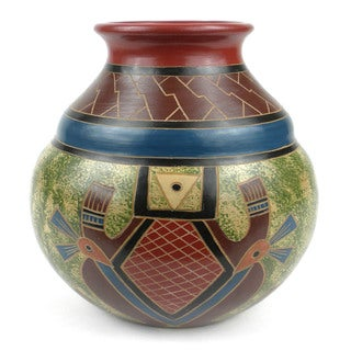 Handmade 7-inch Tall Vase - Abstract Design (Nicaragua)