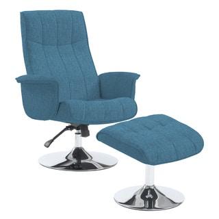 Portfolio Deane Caribbean Blue Linen Chair and Ottoman