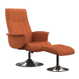 Portfolio Deane Orange Linen Chair and Ottoman