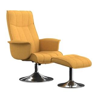 Portfolio Deane Mustard Yellow Linen Chair and Ottoman