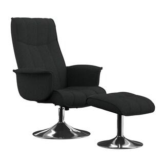 Portfolio Deane Midnight Black Linen Chair and Ottoman