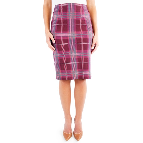 DownEast Basics Women's Ponte Pencil Plaid Skirt