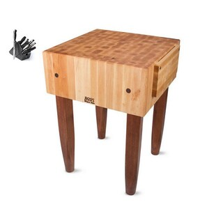 John Boos Cherry Stain 18-inch Maple Butcher Block and Castered Table with J.A. Henckels 13-piece Knife Set