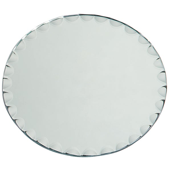 Round Glass Mirror W/Scallop Edge Bulk8in