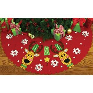 Reindeer Joy Tree Skirt Felt Applique Kit42in Round