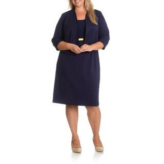 Le Bos Plus Size Women's 2-piece Waffle Textured Jacket Dress