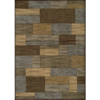 Illusion Bricks Brown 7'10x9'10 rug with bonus scatter