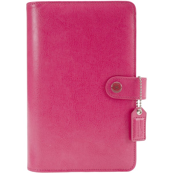 Color Crush Personal Planner Leather 6Ring A2 BinderDark Pink