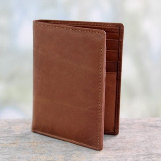 Handcrafted Leather 'Efficient in Brown' Wallet (India)