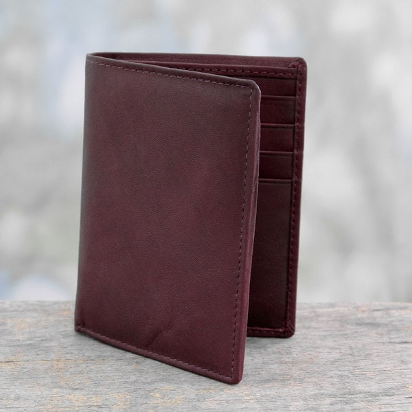 Handcrafted Leather 'Burgundy Wine' Wallet (India)