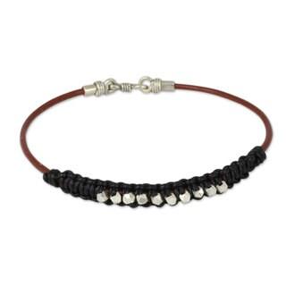 Men's Leather Silver 'Constellation in Black' Bracelet (Thailand)