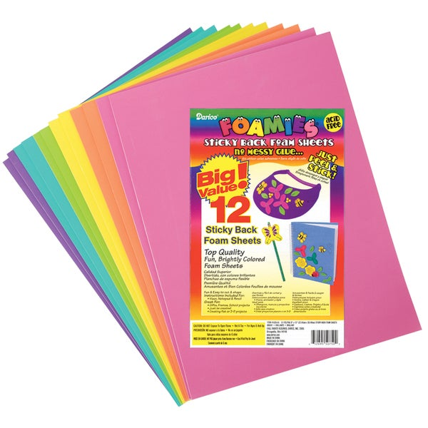 Sticky Back Foam Sheets 9inX12in 12/PkgBright Colors