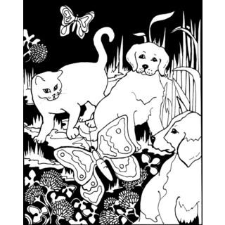 ColorIn Velvet Poster 16inX20inPuppies & Kittens