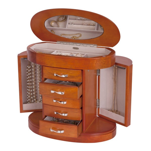 Mele & Co. Lindsay Walnut Finish Wooden Jewelry Box