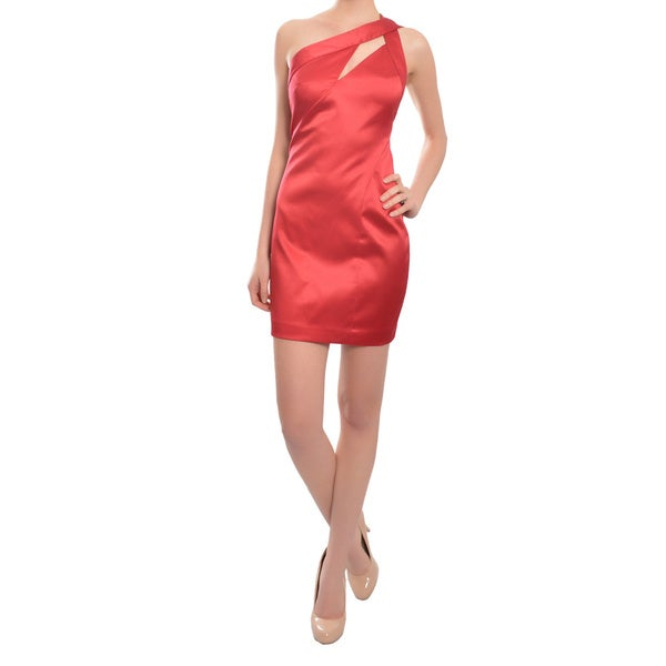 ABS Allen Schwartz Stunning One Shoulder Fitted Red Cocktail Dress