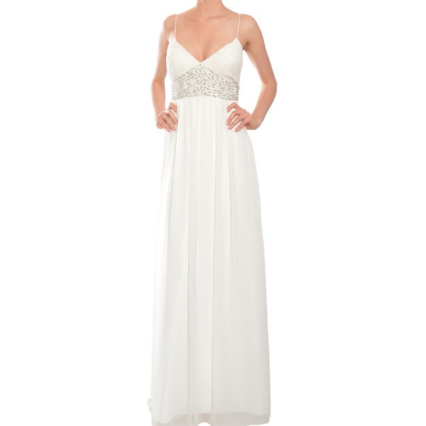 Aidan Mattox Sweet White Chiffon Beaded Bridal Wedding Evening Dress