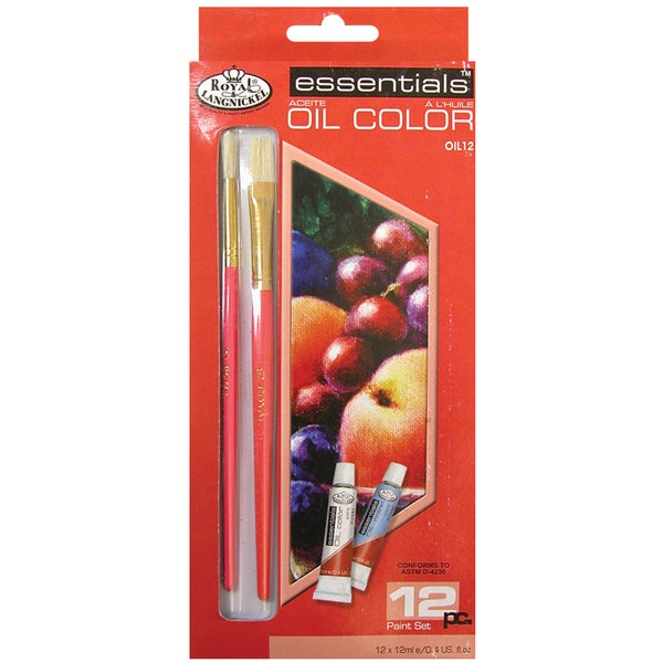 Essentials Oil Paints 12ml 12/PkgAssorted Colors