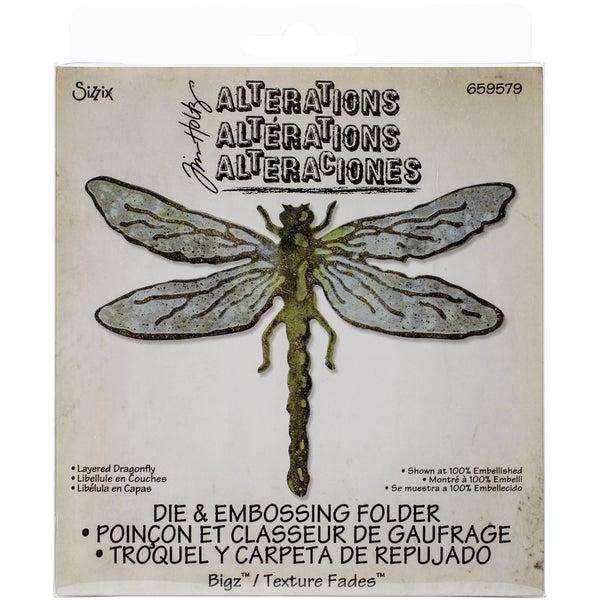 Sizzix Bigz Die W/A2 Texture Fades Folder By Tim HoltzLayered Dragonfly 16227056