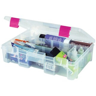 Creative Options Pro Latch Deep Utility Box 49 Compartments11inX7.25inX2.75in Clear W/Magenta